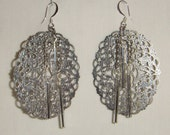 Bold Silvery Dangle Earrings   inv1313