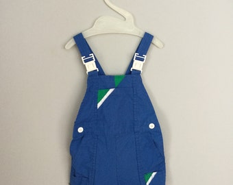 70s 80s Blue and Green Overall Shorts Size 9-12 months