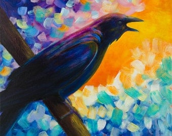 Mr. McGinnis - Original Abstract Crow Painting