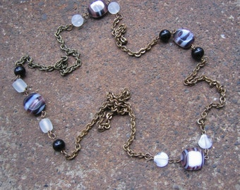 Eco-Friendly Statement Necklace - Moving Heaven and Earth - Recycled Vintage Brass Chain and Glass Beads in Brown, Black and White