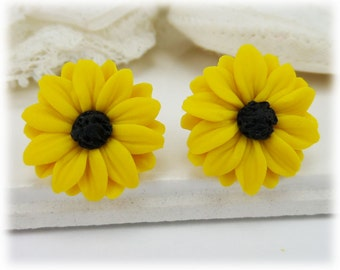 Black Eyed Susan Earrings Stud or Clip On - Black Eyed Susan Jewelry , Yellow Coneflower
