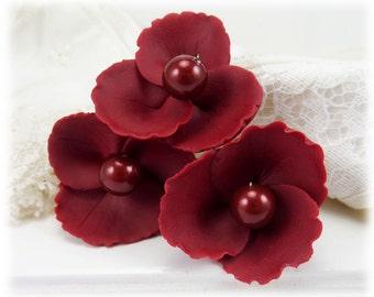 Red Wild Flower Hair Pins - Burgundy Maroon Flower Hair Pins, Bordeaux Pearl Flower Hair Accessories