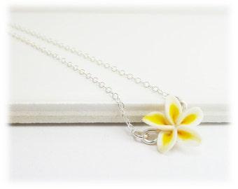 Tiny Plumeria Necklace - Frangipani Necklace, Plumeria Jewelry