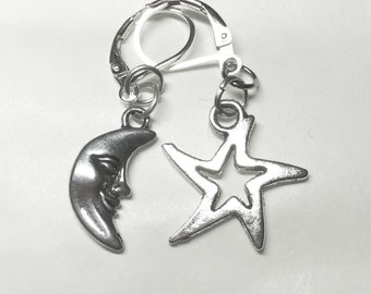 Crescent moon and star earrings for pierced ears silver tone man I need the moon