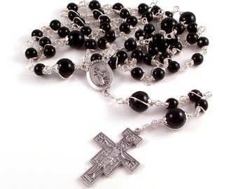 St Francis with Wolf Rosary Beads For Men In Black Onyx with San Damiano Crucifix by Unbreakable Rosaries