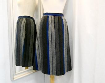Vintage 1980s 80s Skirt Wool Skirt Grey and Blue Striped Skirt A-Line Skirt Handmade Eighties Secretary Office Wear Size XS - S