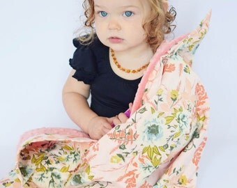 Baby Blanket in Wild Posy with Coral Minky