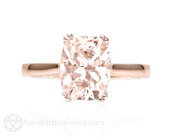 Rose Gold Morganite Ring Large Cushion Double Prong Solitaire Morganite Engagement Ring 14K White Yellow Rose Gold Bridal Jewelry