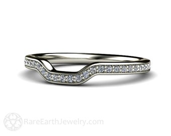 Platinum Contoured Diamond Wedding Band for Radiant Moissanite Pave Prong Ring