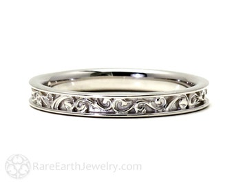 Filigree Wedding Band Wedding Ring for Vintage Ring Art Nouveau Art Deco Engagement Ring 14K 18K Gold Platinum or Palladium