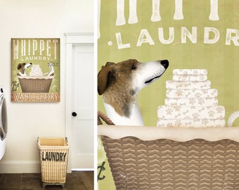 Whippet dog Laundry Company basket illustration graphic art on canvas by stephen fowler
