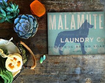 Alaskan Malamute Dog Laundry Company illustration graphic art on canvas panel  by stephen fowler
