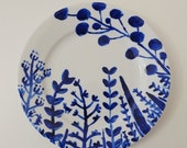 WINTER SALE LP001 Hand Painted Hidden Hares Large Plate