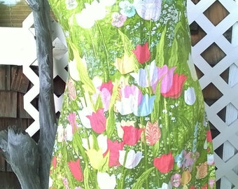 TRUE Tent Dress, 1960s Cotton Tulip Print, Completely Hand Sewn Cutie, OOAK, Spring Greens and Pinks, sz 34/36 bust