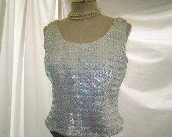 Vintage Sequin Top 60s AB Sequin blouse 60s vintage party blouse pastel rainbow top White aurora borealis sequin blouse S M