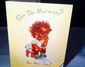 Vintage Black Americana Greeting Card Get Well Soon