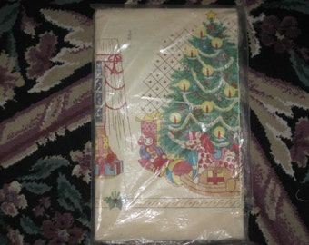 Vintage Christmas Paper Table Cloth 52 IN. x 96 IN.