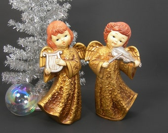 Christmas Angels, Gold Gowns, Paper Mache, Made in Japan, Vintage 1960s Era, Holiday Decorations, Playing Musical Instruments