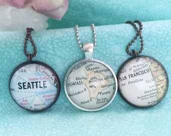 Vintage Map Necklace, You Choose Location, One of a Kind City Jewelry, Travel Souvenir, Anniversary Present of Your Honeymoon Destination
