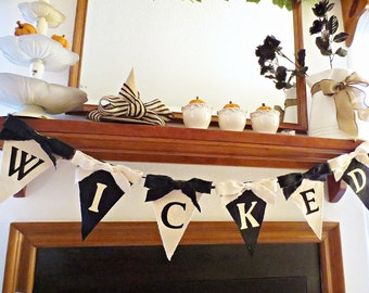Halloween Decor, Halloween Banner, Vintage Halloween Decor, Halloween Garland, Rustic Chic Halloween, Shabby Chic Halloween, Black and Tan