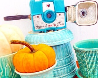 Say Cheese... Vintage 1960's Turquoise Blue Imperial Mark XII Camera with Flash