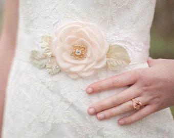 Wedding Dress Sash Bridal Belt w Handmade Flower and Lace