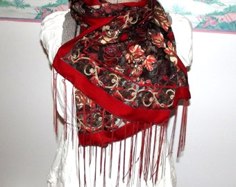 Rose Scarf, Lightweight, Red, Black, Boho Chic, Gypsy Retro, Romantic, Wrap Accessory, Transparent