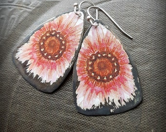 Tin Earrings, Vintage Tin, Flower Earrings, Unique, Organic, Primitive, Stamping, Recycled, Upcycled
