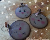 Sold to Susan ... 3 Hand Painted Gingerbread Ornaments .. Support Handcrafted