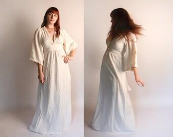 Vintage 1970s Gauzy Dress - Cream Angel Sleeve Gauze Maxi Dress - Bohemian Dream - Boho - Medium