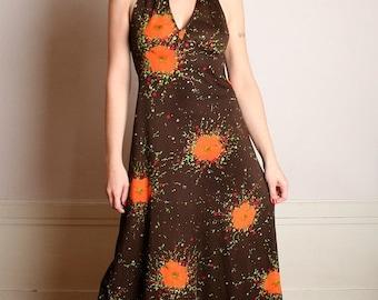 ON SALE Vintage 1970s Maxi Dress - Tangerine Floral Print Halter Maxi - Small Medium