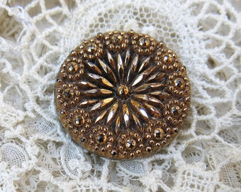 Vintage Gold Gilt Black Glass Button,  Luster Button ... Early 1900s ... Pressed, Molded, Gilded, Detailed