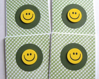 Happy Smiley Faces Mini Cards - Set of 4 Gift Enclosure/Note Cards