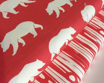 Organic fabric, Bear Camp fabric bundle by Birch Fabrics, Bear fabric, Orange fabric, Boy fabric, Nursery, Bundle of 2- Choose the Cut