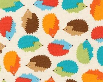 Hedgehog Fabric, Boy fabric, Nature, Boy Nursery, Woodland Pals fabric by Ann Kelle for Robert Kaufman, Hedgehog in Bermuda, Choose your cut