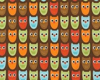 Owl Fabric, Boy fabric, Nature, Boy Nursery, Woodland Pals fabric by Ann Kelle for Robert Kaufman, Owls in Bermuda, Choose your cut