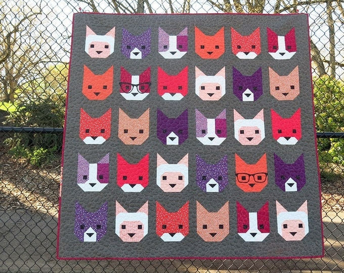 20% off, The Kittens Quilt Pattern by Elizabeth Hartman, Cat Quilt, Animal Quilt, O Fransson, Fabric Shoppe, Free Shipping Available