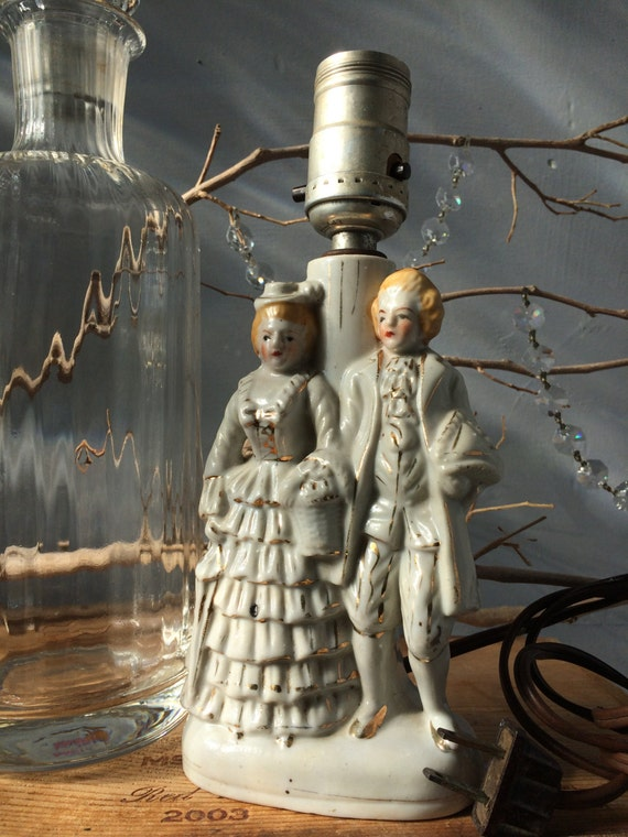 VINTAGE LAMP...porcelain statue, white gold couple love lighting, traditional interior design,home decor