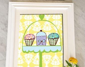 Cupcakes, Cupcake Artwork, Cupcake Print, Kitchen Wall Art, Print