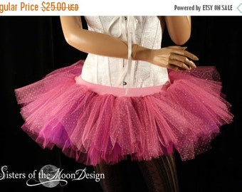 SALE Tutu skirt Peek a boo pink sparkle fairy costume halloween dance ballet dress up race - Ready To ship - Small - Sisters of the Moon