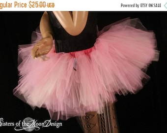 SALE Adult tutu skirt Mini micro Peek a boo style dance roller derby costume peach pink runner fairy - XS - Ready to Ship - Sisters of the M