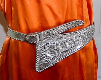 Vintage 1980s Atash Silver Handmade Leather New Wave Hip Belt