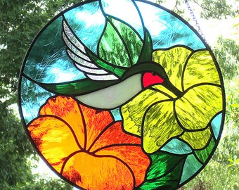 Stained Glass Hummingbird Suncatcher Ruby Throated with Yellow Orange Flowers