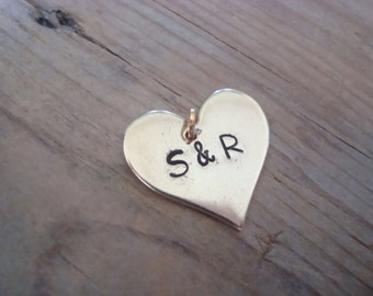 Large Add On Personalized Monogram Heart Charm - Brass, Gold Heart Charm, Custom Initial Heart, Valentines Day. Mothers Day, Birthstone