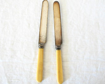Antique Vintage Silver Plate Knives, Celluloid Handle, Gorham MFG Co., Set of 2, Wedding Decor, Silverware, Place Setting, Flatware