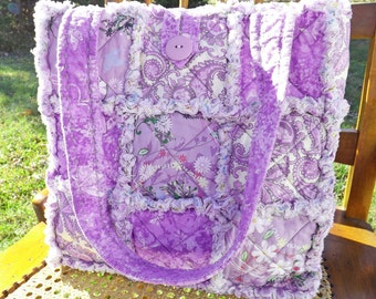 Purple Paisley and Floral Rag Quilt Tote - Handmade - Rag Quilt Handbag - Purple Floral Tote -