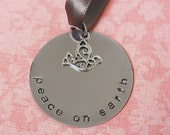 Hand Stamped Peace on Earth Christmas Ornament - ON SALE