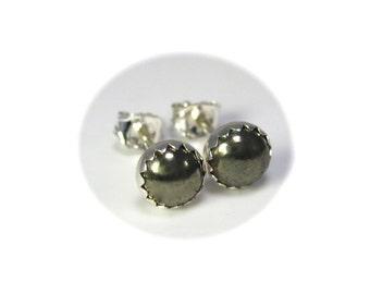 Pyrite Stud Earrings, Pyrite Earrings Sterling Silver Fools Gold Jewelry