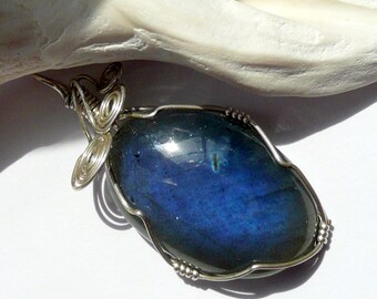Large Blue Flash Labradorite Cabachon Hand Wire Wrapped in Sterling Silver OOAK Artisan Boho Wiccan Gothic Statement Gift for Her Pendant