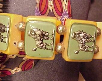 signed jan carlin designer bakelite Golden Poodle  bracelet green and silver
